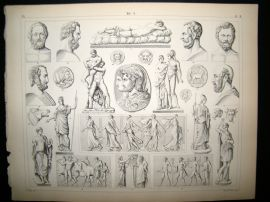 Statues/Sculpture 1857 Antique Print. 3